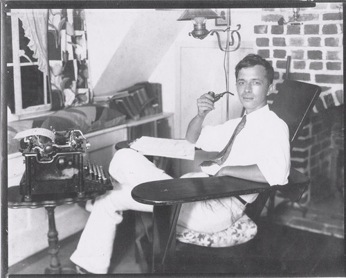 Will F. Jenkins (aka Murray Leinster) in his home study, 1930s.