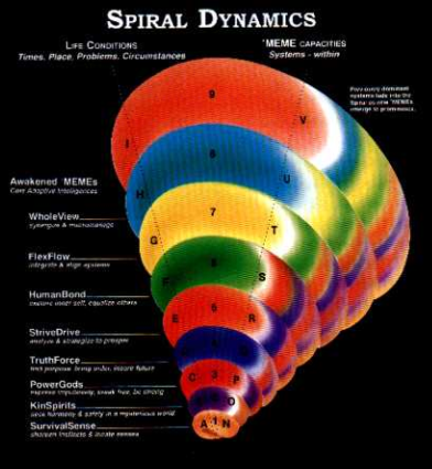 Don Beck and Chris Cowan first published their developmental values model in Spiral Dynamics (1996), and it has slowly gained in popularity since, with several psychology, therapy, integral theory and organizational development consulting groups now using and offering training in it. It is a model of converging values development over time, as individuals and groups learn to build increasingly complex mental models to handle new problems. The model is usually represented as an expanding cone of increasing radius at higher levels, representing the increased complexity of activity at those levels. Unfortunately, such a representation is a bit misrepresentative, and in conflict with developmental theory.