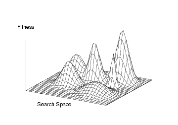 Fitness Landscape (A fitness variable (e.g. preference, growth, profit) and a search space (strategic options)