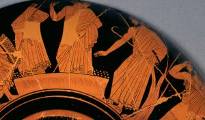 Athenians voting with psephoi (voting pebbles). Source: Wine Cup with the Suicide of Ajax. (490 BCE)